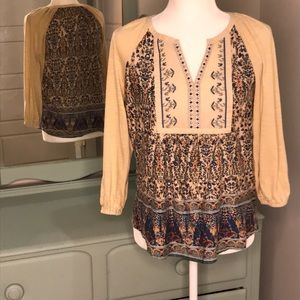 Vintage America embroidered boho peasant top Small